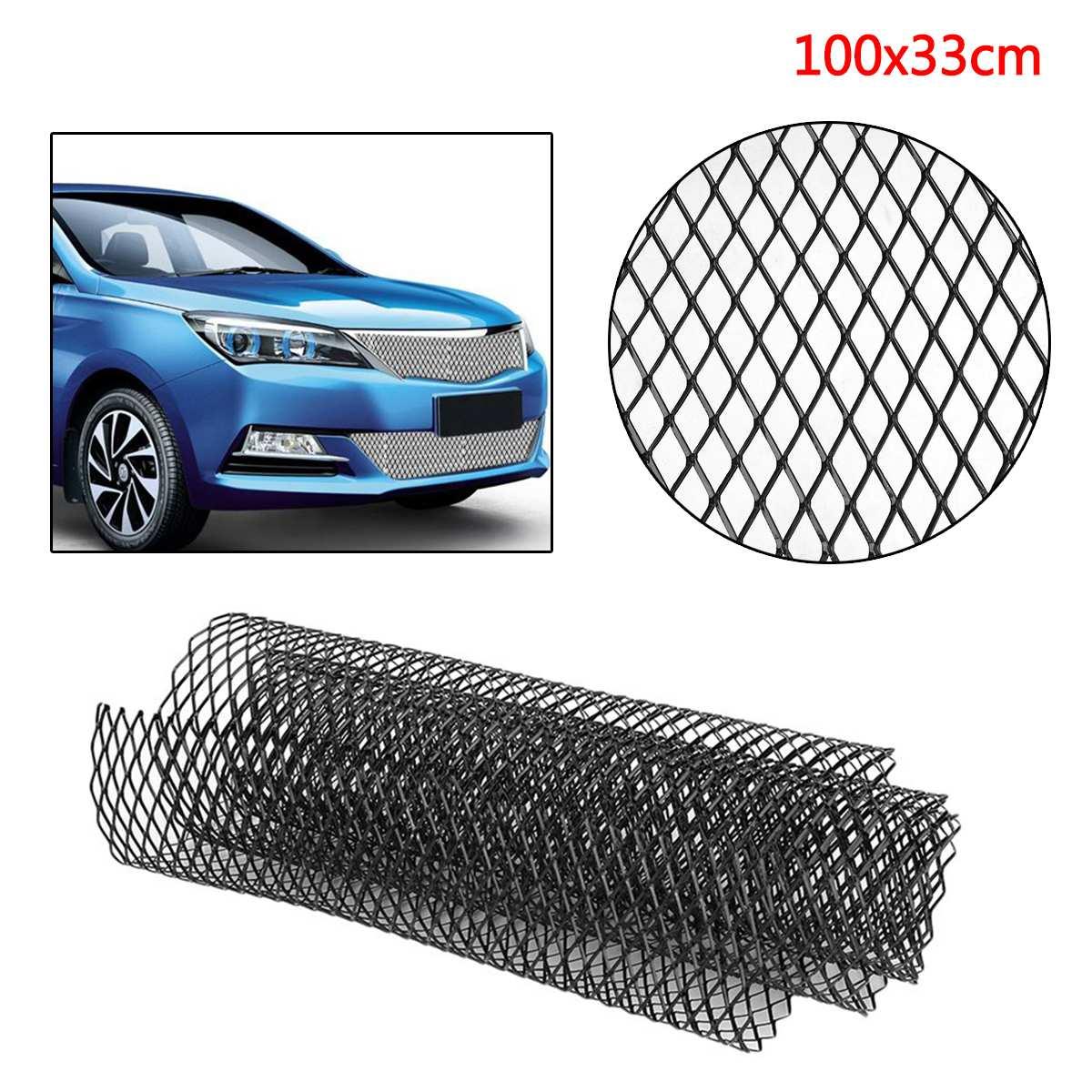 100x30cm Auto Car Universal Aluminum Alloy Car Front Bumper Mesh Grill Grille Cover Car Vehicle Black Body Grille Net Protector