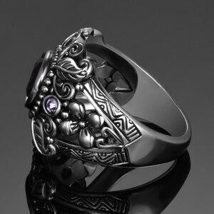 Image 4 - Винтажное ювелирное изделие, 3 карата, аметист, Стерлинговое Серебро 925 пробы, кольцо, круглая огранка Фиолетовый натуральный камень, женские свадебные кольца с драгоценными камнями Anel Aneis