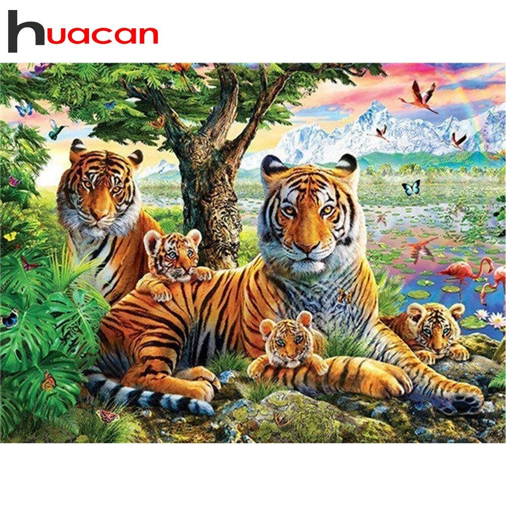 Huacan Diamond Embroidery Full Display 5D Diamond Painting Tiger Diamond Mosaic Animals Cross Stitch Decor Factory Direct