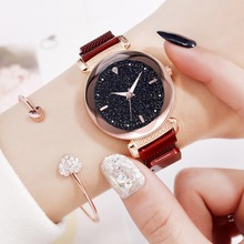 Hot Sale Womens Luminous Starry Sky Watches Fashion Simple Quartz Ladies Dress Clock Casual Red Mesh Luxury Female Wristwatches