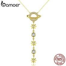 944b048cf58d BAMOER universo Y en forma de collar de plata de ley 925 de Color oro estrellas  colgante collar para mujer estilo coreano de SCN.