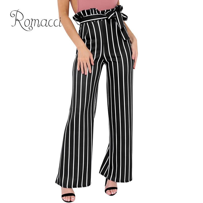 Autumn New Casual Women Striped   Wide     Leg     Pants   Tied Belt Ruched High Waist Zipper Back Slim Contrast Color Trousers White/Black