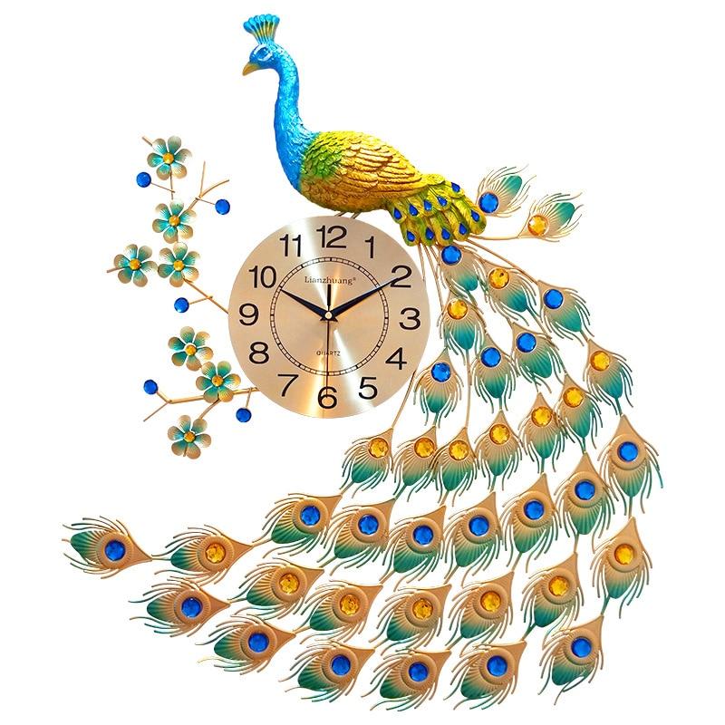 Grande horloge murale créative paon diamant horloges muettes pour salon décor à la maison numérique métal cristal moderne horloge murale montre