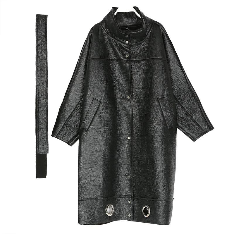 Noir Streetwear Long long Lâche Pu Roulé Et Manteau Hiver Veste Tranchée Faux Femmes Grande Cuir X 1118 Épais Col Taille Polaire BZRgyxxq
