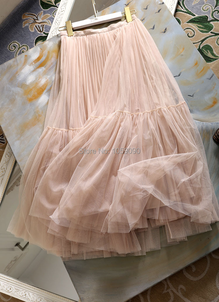 Plissée Doublure Doux Soie Grade Mode Tulle Longue Nouveau rose ligne Haut Noir 2019ss En Midi De Jupe A Femme Jupes R0w5A
