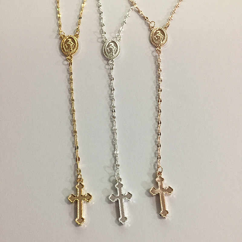 Maryja dziewica krzyż naszyjniki dla kobiet biżuteria srebrny naszyjnik Choker naszyjnik kobiety oświadczenie naszyjniki Collier Femme Collane naszyjnik