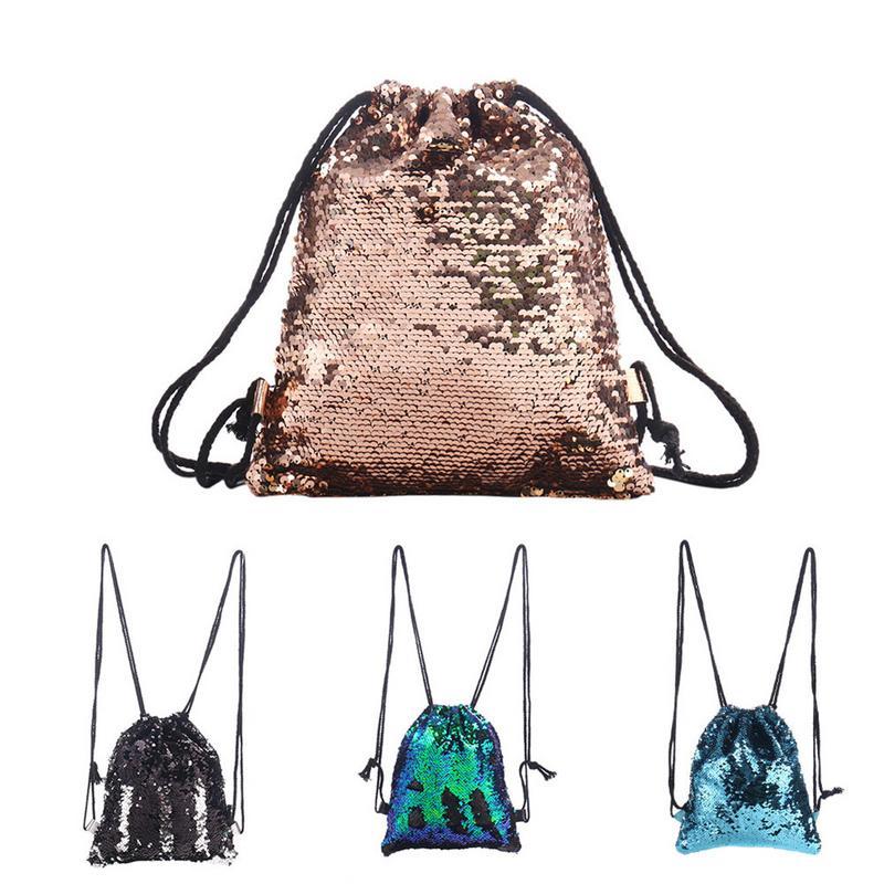 Drawstring Bag Strap Panelled Double Color Sequins Women Men Shoulder Bag Designed Straps For BackpackDrawstring Bag Strap Panelled Double Color Sequins Women Men Shoulder Bag Designed Straps For Backpack