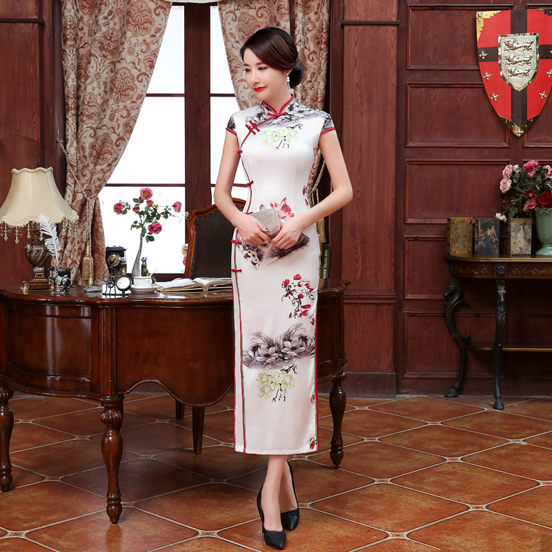 Elegant Dress Women Long National Chinese Dresses China Silk Printing Qi Pao Dresses White Oriental Oblique Buckle Cheongsam 3XL