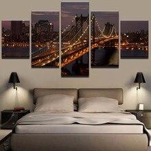 Home Decor Modular Poster 5 Panel Manhattan Bridge Night Landscape Painting Modern Canvas Print Pictures Wall Art Frame