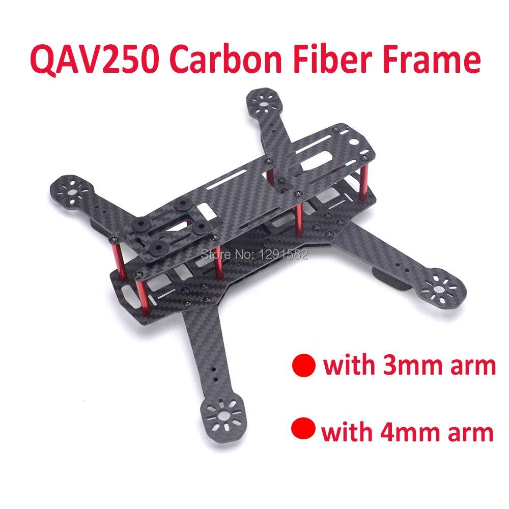 250 250mm avec 3mm ou 4mm bras en Fiber de carbone quadrirotor cadre Kit pour ZMR250 QAV250 FPV drone