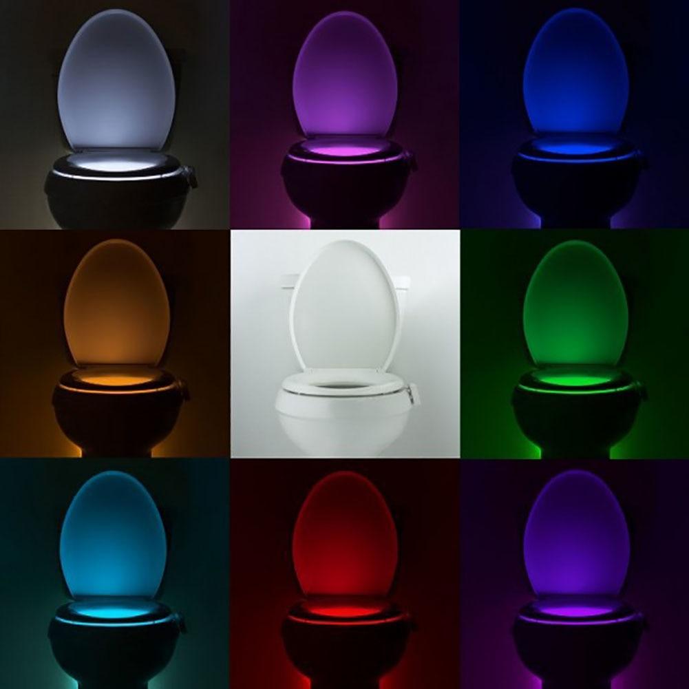 Умный PIR датчик движения, ночной Светильник для унитаза, 8 цветов, водонепроницаемая подсветка для унитаза, светодиодный светильник
