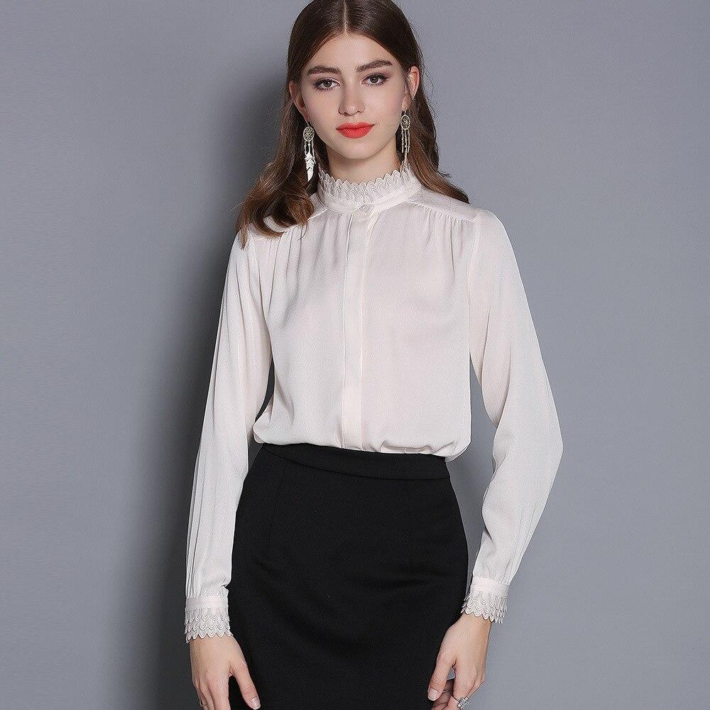 Blusa femmes broderie Blouse élégant vert Satin chemise dentelle col montant à manches longues femme formel bureau Ol Blouse haut pour femme