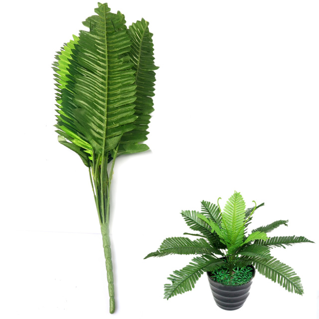 toyofmine Boston Fern Bush Potted Artificial Home Decor