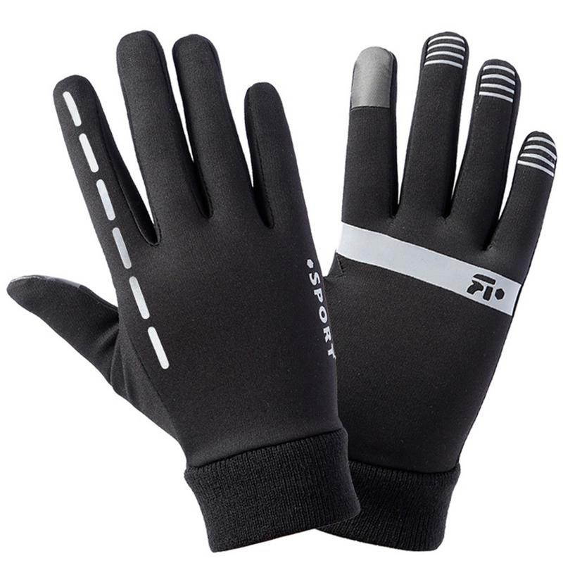 Outdoor Sports Skiing Gloves Men And Women Velvet Thin Reflective Gloves For Riding Running Travel Antiskid Touch Screen Gloves