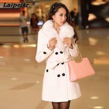 Woolen Coat Female Long Section 2018 Women's Windbreaker Winter Wear Korean Version of the Large fur Collar Double-sided Woolen недорого