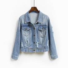 Fashion Ripped Hole Washed Jean Jacket Light Blue Single Breasted Short Denim Jackets Jaqueta Long Sleeve Casual Jeans Coat