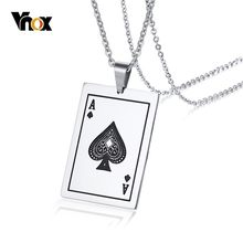 Vnox Lucky Ace Of Spades Mens Necklace Silver Tone Poker Pendant for Male Stainless Steel Casino Fortune Playing Cards(China)