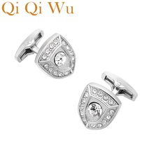 QiQiWu Luxury Shield shape Cufflinks for mens Wedding Jewelry Mens Shirt Cuff Buttons Gifts for Men Silver Plated Arm Cuff links