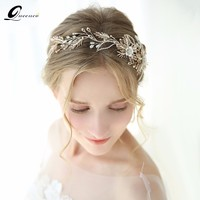 Leaf Headband Baroque Tiara Bridal Hairbands Crown Headpiece Headdress Wedding Hair Accessories Bride Tiaras Jewelry