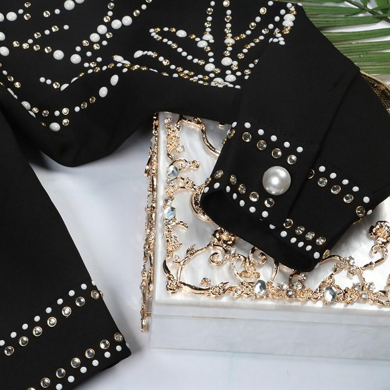 Diamant Luxe 2018 Femelle Noir Hiver Perles Femmes Manteau De Vêtements Streetwear Piste Veste Designer Punk Style Pardessus f1PfSq