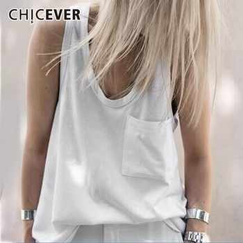 CHICEVER Spring V Neck Vest Top For Women Patchwork Pocket Loose Slim Female Tank Vests 2019 Fashion Casual Clothing - DISCOUNT ITEM  39% OFF All Category