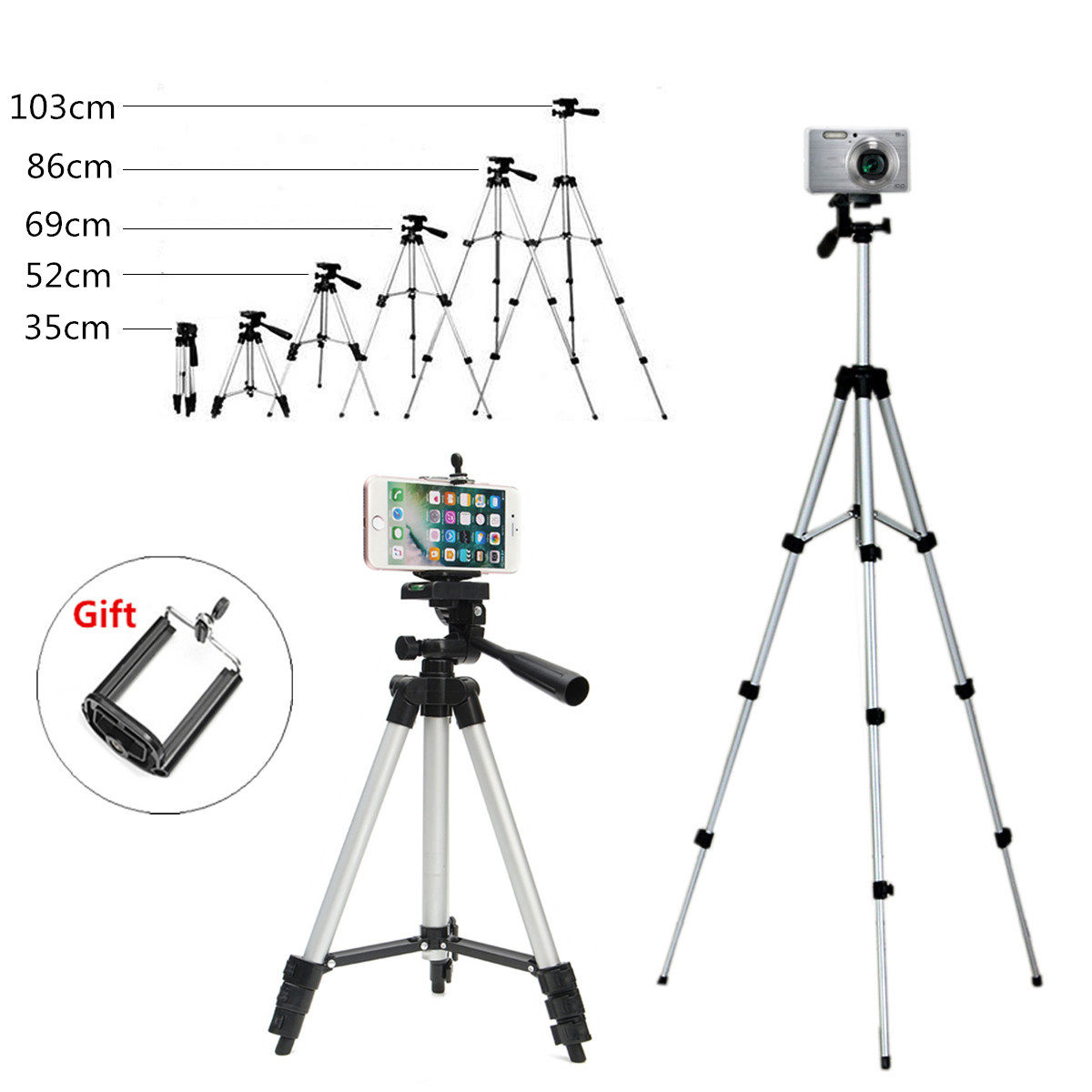Universal Portable Tripod 350-1030mm 360 Rotation +Phone Holder For Smartphone For Canon For Sony For Nikon Compact Camera
