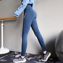 Купить с кэшбэком Mujer High Waisted Seamless Gym Leggings Black Letter Print Side Yoga Pants Push Up Sport Leggings Fitness Clothing For Women