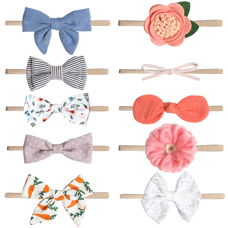 Elastic Newborn Buterfly Girl Adjustable Print Flower Candy Color Baby Headbands