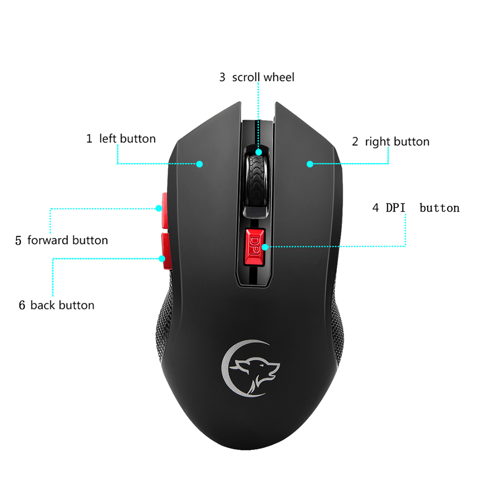 Image 5 - G817 Universal Adjustable 2400DPI PC Battery Powered 2.4G Wireless Gaming Mouse-in Mice from Computer & Office