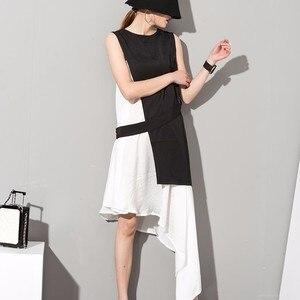 Image 3 - EAM robe assise, sans manches, asymétrique, 2 pièces, élégante, nouvelle couleur noire, blanche, col rond, printemps été, 2020