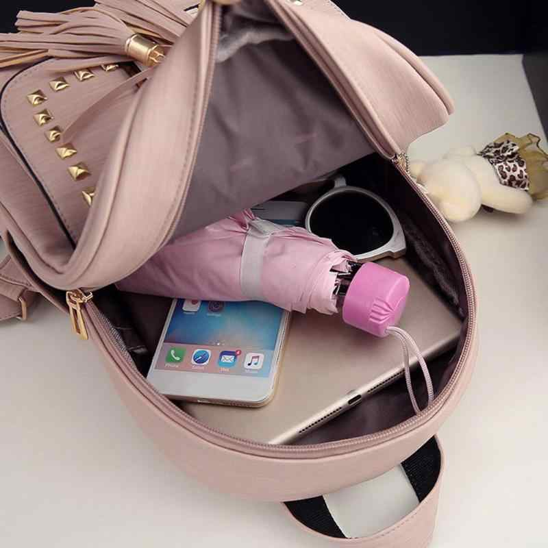 5b3abb636a66 ... 3pcs set Women Backpack PU Leather Backpack Teenager Girls Backpacks  Ruck Shoulder Bag Female Student ...