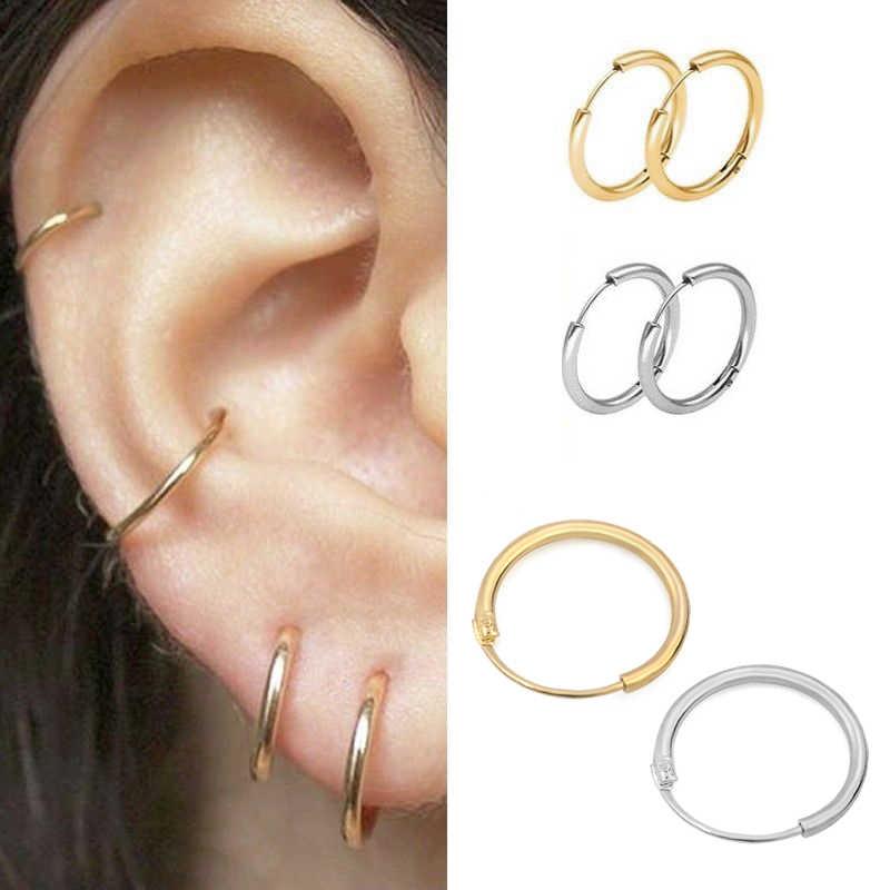 3 זוגות\סט אופנה נשים ילדה פשוט עגול מעגל קטן אוזן עגיל פאנק היפ הופ עגילי תכשיטי 3 גודל