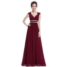 Artı boyutu zarif v yaka uzun abiye elbise 2020 ucuz şifon parti törenlerinde dantelli boncuk İmparatorluğu oymak resmi elbise