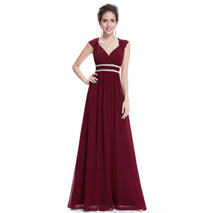Image 1 - Plus Size Elegant V Neck Long Evening Dress 2020 Cheap Chiffon Party Gowns Ruched Beading Empire Hollow Out Formal Dress