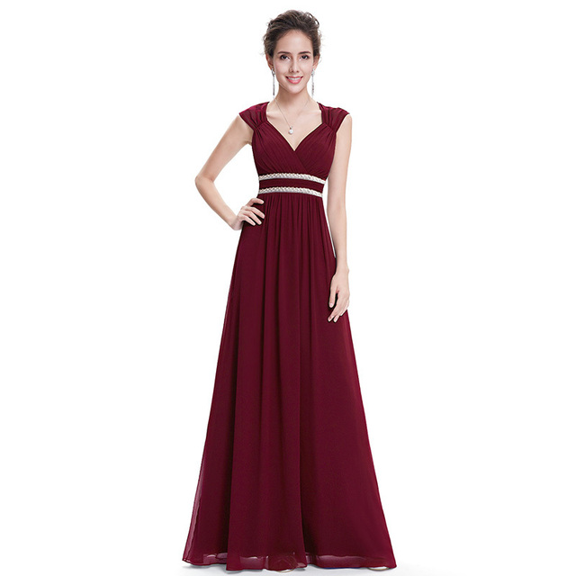 Plus Size Elegant V Neck Long Evening Dress 2020 Cheap Chiffon Party Gowns Ruched Beading Empire Hollow Out Formal Dress