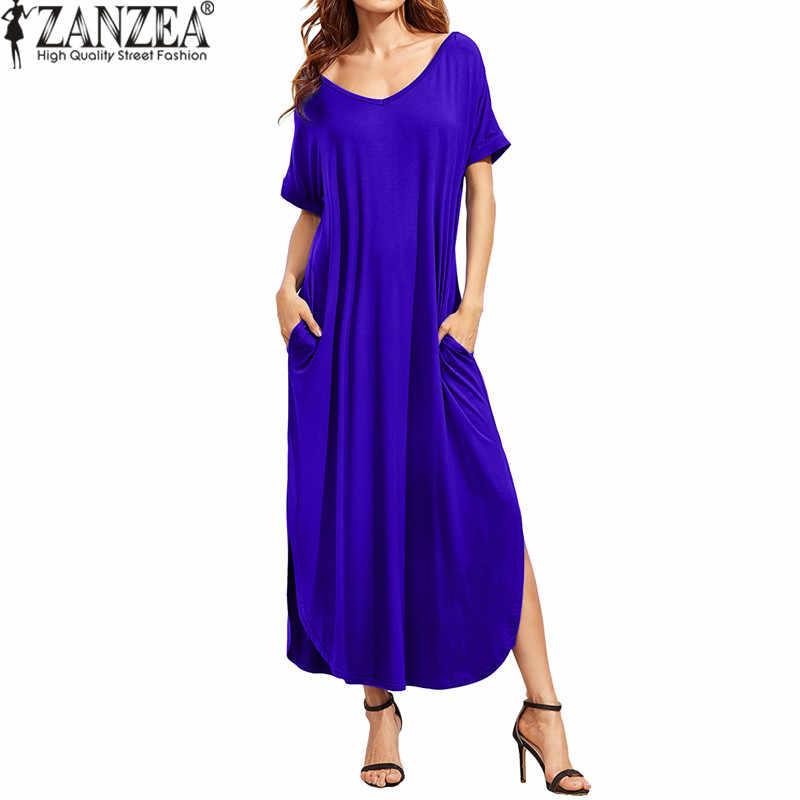 2020 letnie sukienki damskie ZANZEA Sexy dekolt w serek z krótkim rękawem Casual jednokolorowa z rozcięciem długa sukienka kobieta Backless Party Beach Vestido S-XL