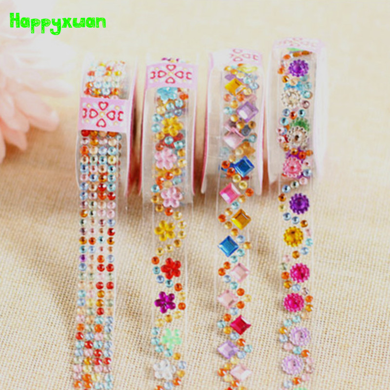 Happyxuan 4pcs/lot Crystal Diamond Stickers Tape Sheets DIY Hand Craft Materials Scrapbook Album Photo Frame Decoration