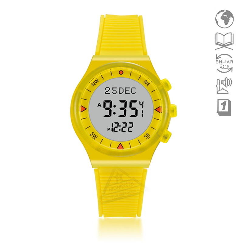 Beautiful Neon Color Fashion Azan Watch For Muslim Kids 32mm 3 Bar Atm 6506 Wy16 Islamic Clock With Automatic Qibla Direction For Students Moderate Price Digital Watches