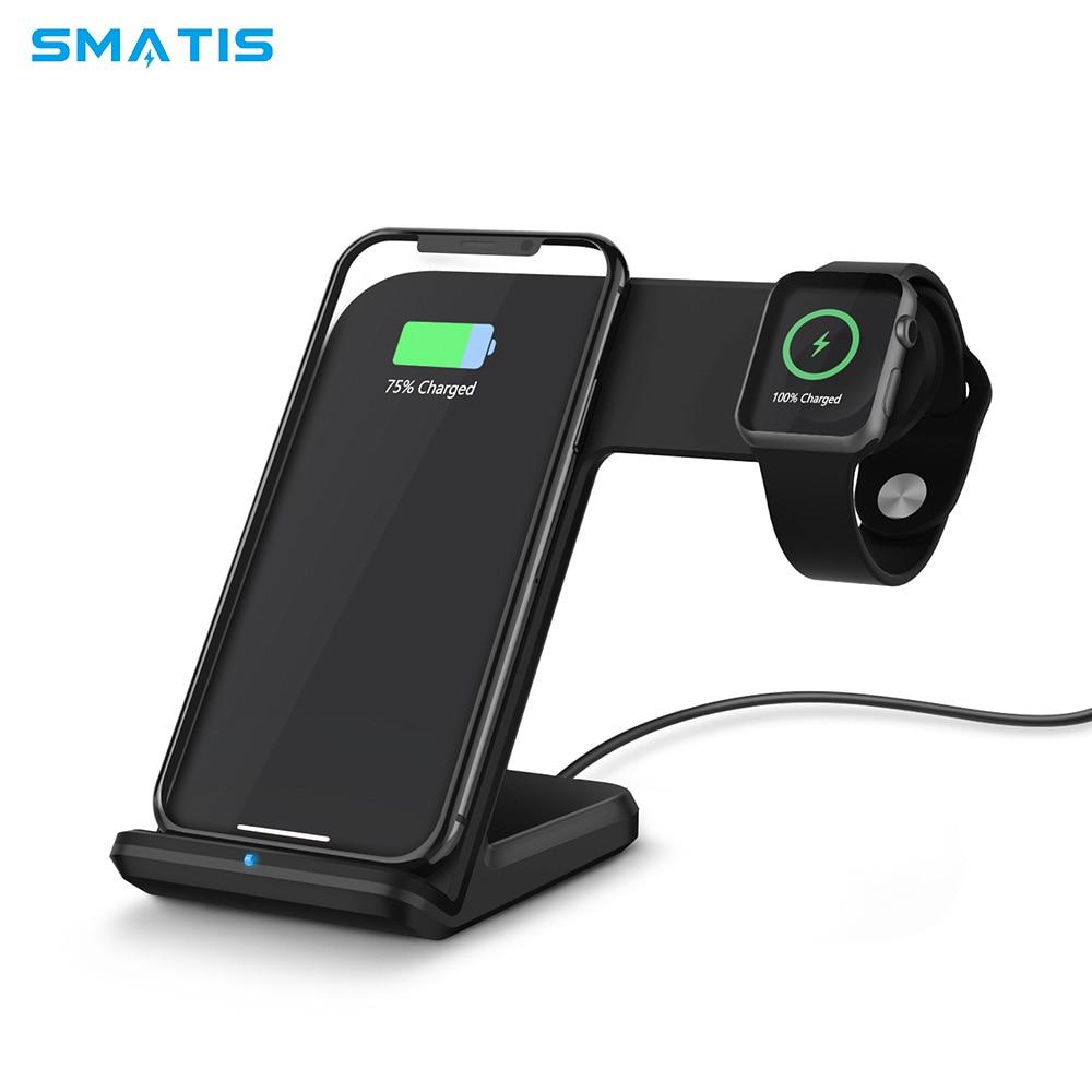2 en 1 chargeur rapide sans fil Charge rapide 3.0 pour iPhone X XS Max XR Apple Watch 4 3 2 chargeur Samsung S9 Mi 9 recharge sans fil