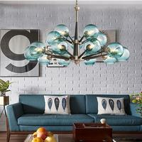 American vintage rustic blue glass chandelier lamp for dining room home lighting country style Pastoral hanging blue chandeliers