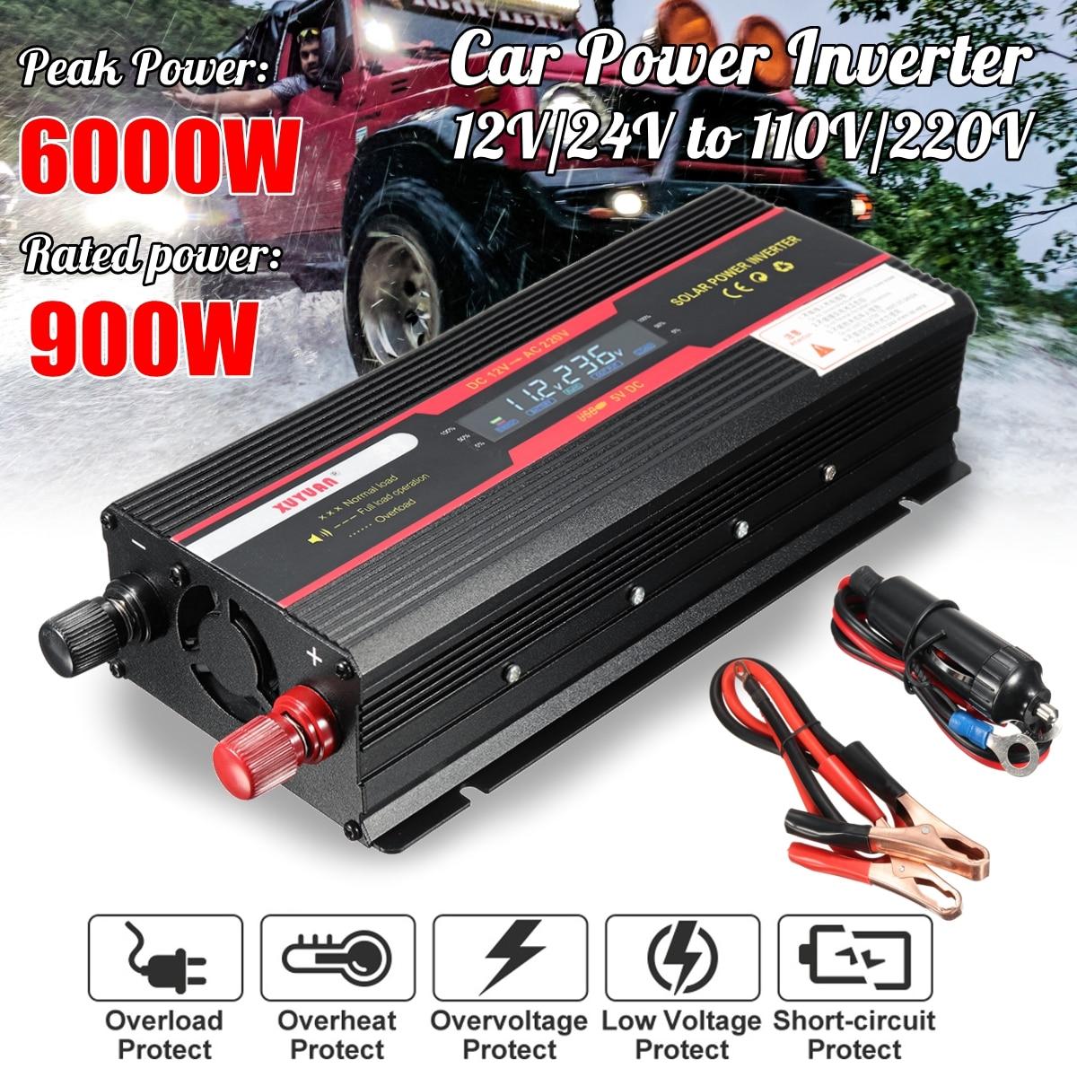 Car Inverter 12V 220V 6000W P eak Power Inverter Voltage Convertor Transformer DC 12V/24V To AC 220V/110V Solar Inversor 1pcs lot sh b17 50w 220v to 110v 110v to 220v