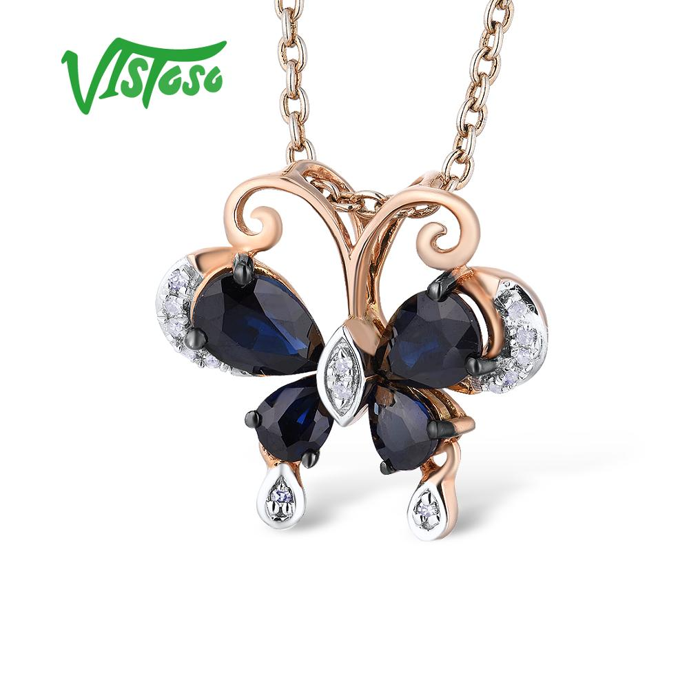 VISTOSO Gold Pendants For Women Pure 14K 585 Rose Gold Delicate Butterfly Blue Sapphire Sparkling Diamond Wedding Fine JewelryVISTOSO Gold Pendants For Women Pure 14K 585 Rose Gold Delicate Butterfly Blue Sapphire Sparkling Diamond Wedding Fine Jewelry