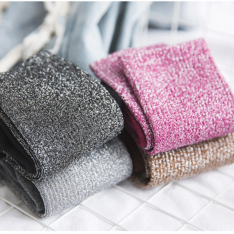 High Street Fashion Soft Glitter Women   Socks   Cotton Blends Sparkle Bling Bling   Socks   Trendy Bright Color Patchwork Shiny   Socks