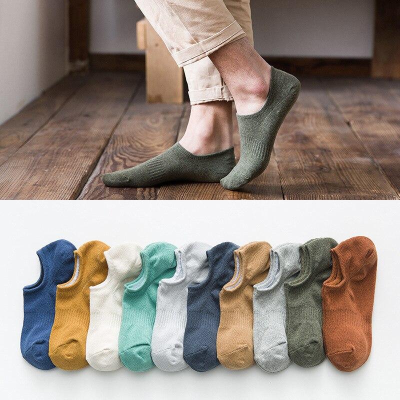 PEONFLY 10 Colors Summer Mesh Breathable Short Sock Slippers Men Soild Non-slip Silicone Socks Men's Ankle Invisible Boat Socks