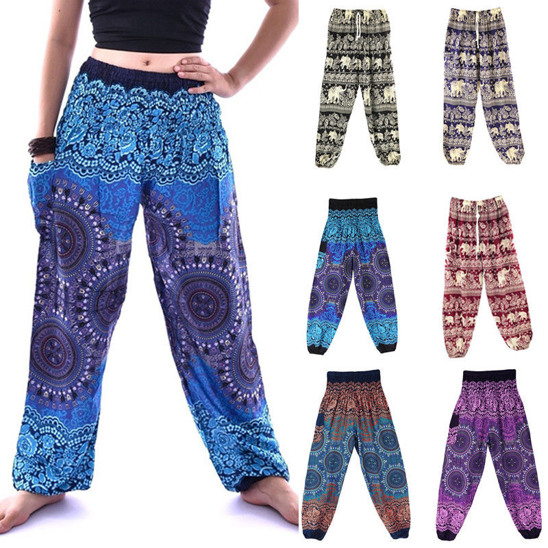 Women's Girls Ali Baba Harem Trousers Hippy Floral Flower Baggy Loose 12 14 16