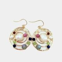 Lii Ji Freshwater Pearl Real Stone Geometric Circle Gold Color Drop Earrings 925 Sterling Silver Hook Earrings For Women Jewelry