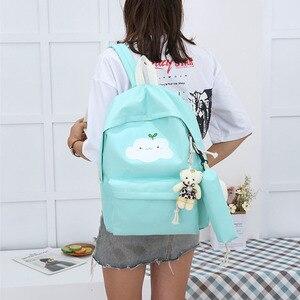Image 2 - Yeni moda naylon sırt çantası sevimli bulut baskı okul çantaları gençler için okul için rahat çocuk sırt çantası seyahat çantaları