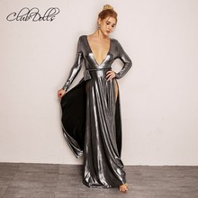 New Fashion Deep V Prom Dresses Twisted Rope Belt Sexy Formal Party Gown  Metal Color Vestidos 15cc1343663d