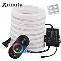 RGB de luz de neón de cinta Flexible de neón LED de luz de la noche la lámpara 2835 5050 120 LEDs/m tira de LED control remoto 24Key 110V 220V