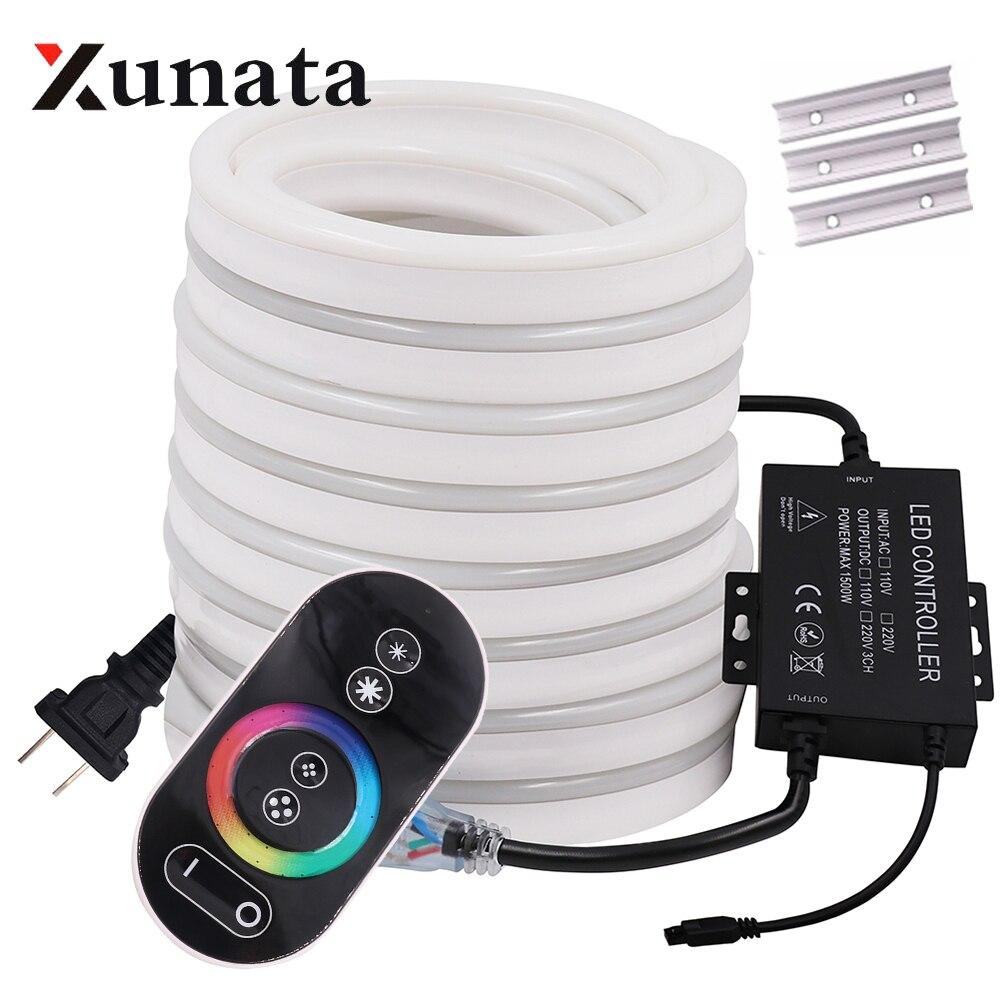 RGB ネオンライトリボンテープ柔軟な Led ネオンサイン夜の光ランプ 2835 5050 120 leds/メートル LED ストリップリモート 24Key 110V 220V